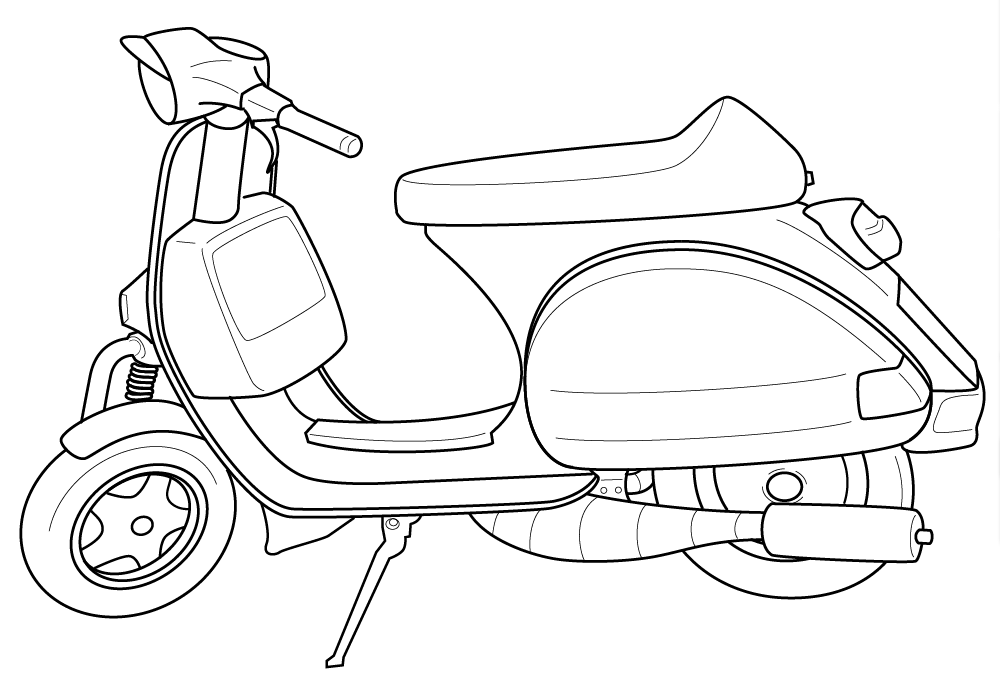 Vespa Coloring Pages For Kids to Print: Vespa Coloring Pages For