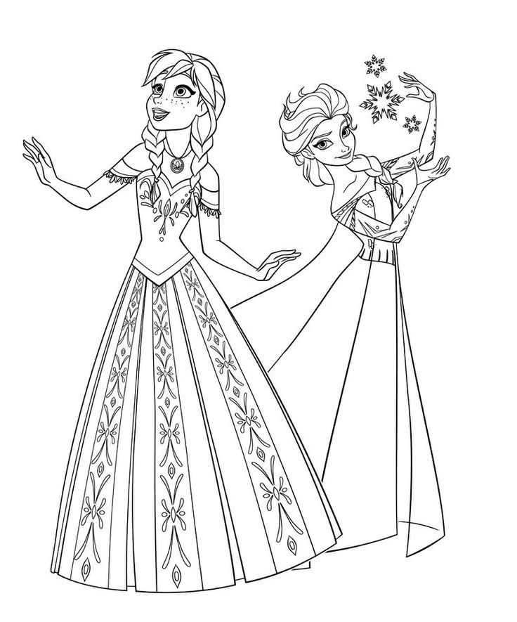 Anna Elsa Olaf Colouring Pages Page 3