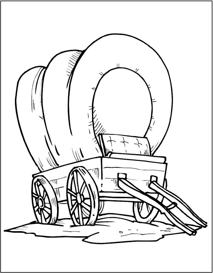 coloring pages oregon trail | Wagons Oregon Trail Coloring Pages