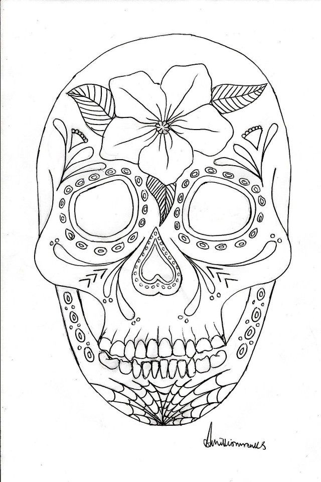 Viewing Gallery For Day Of The Dead Coloring Page 84282 Day Of The