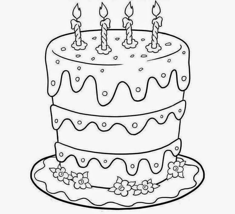 Colour Drawing Free Wallpaper: Birthday Cake Printable Coloring