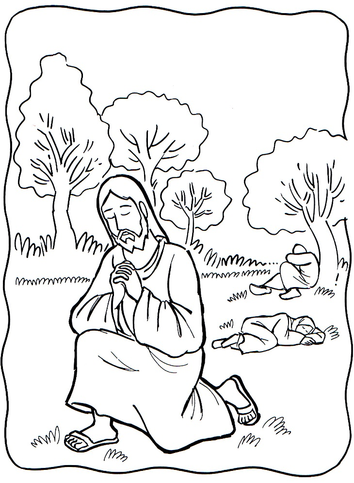 Jesus Praying In The Garden Coloring Page
