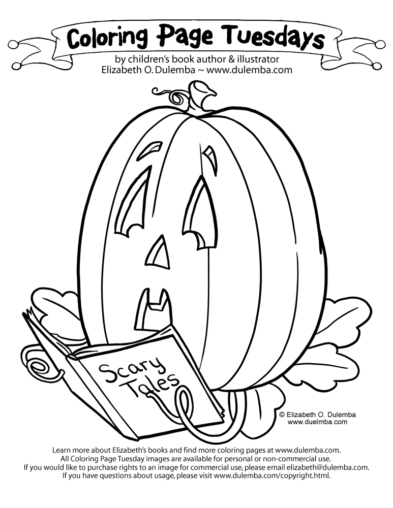 dulemba: Coloring Page Tuesday - Scaredy pumpkin and GIVEAWAY!