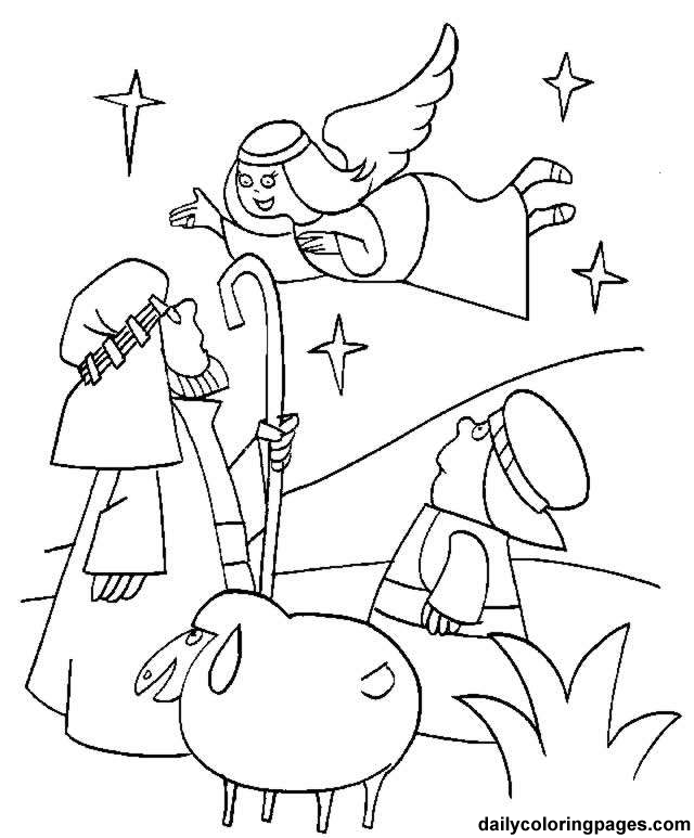 Shepherds Nativity Coloring Pages