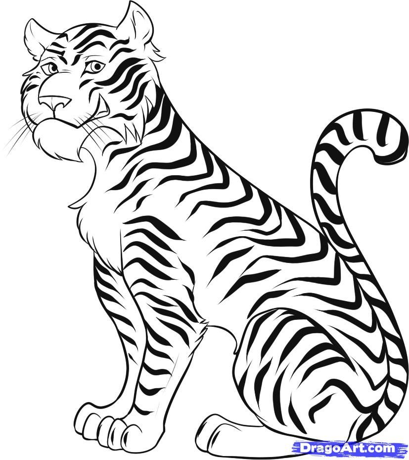 Cartoon Tiger Picture Coloring