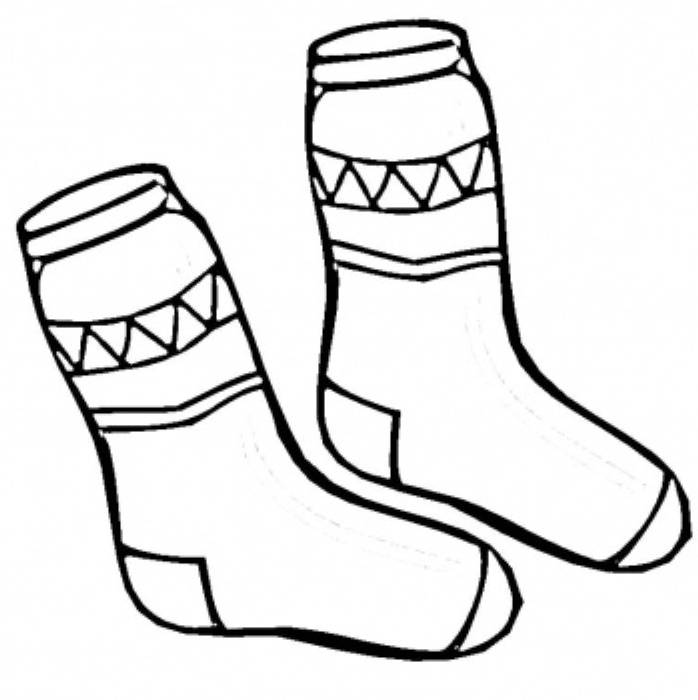 Print Socks Winter Clothes Coloring Page Or Download