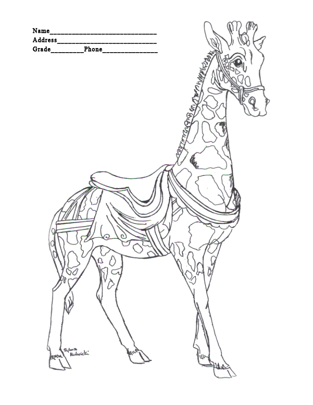 Merry go round coloring pages coloring pages for Merry go round horse template