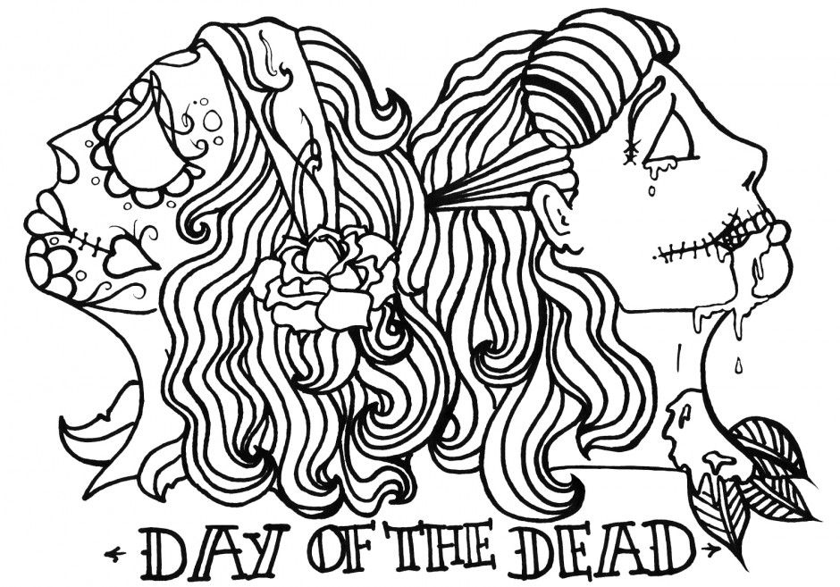 Sugar Skulls Day Of The Dead Skull Coloring Pages Printable 275727
