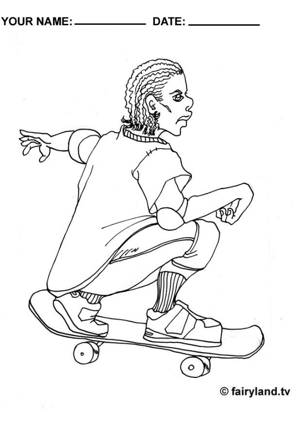 skateboard coloring pages online - photo#23