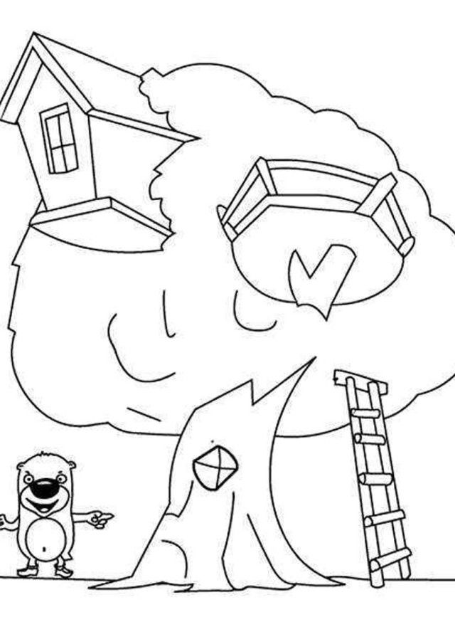 Tree House Coloring Pages Coloring