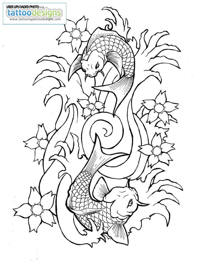 koi fish drawing outline image tattooing tattoo designs az coloring pages. Black Bedroom Furniture Sets. Home Design Ideas