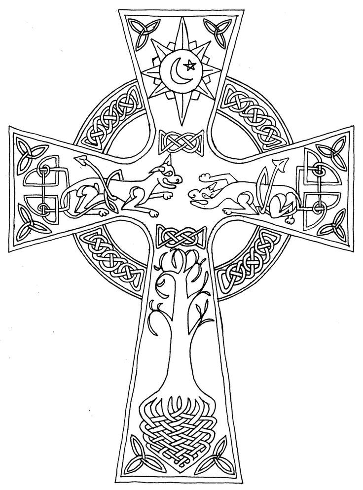 Celtic Cross Coloring Page - Coloring Home