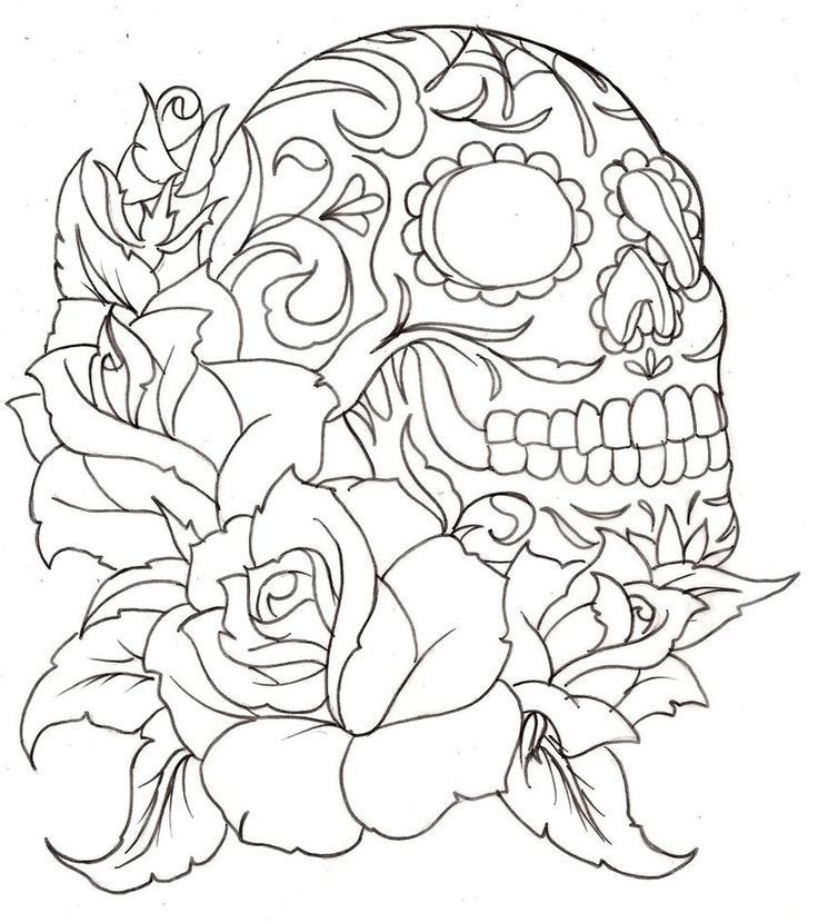 coloring pages of roses and skulls - skull coloring pages coloring home