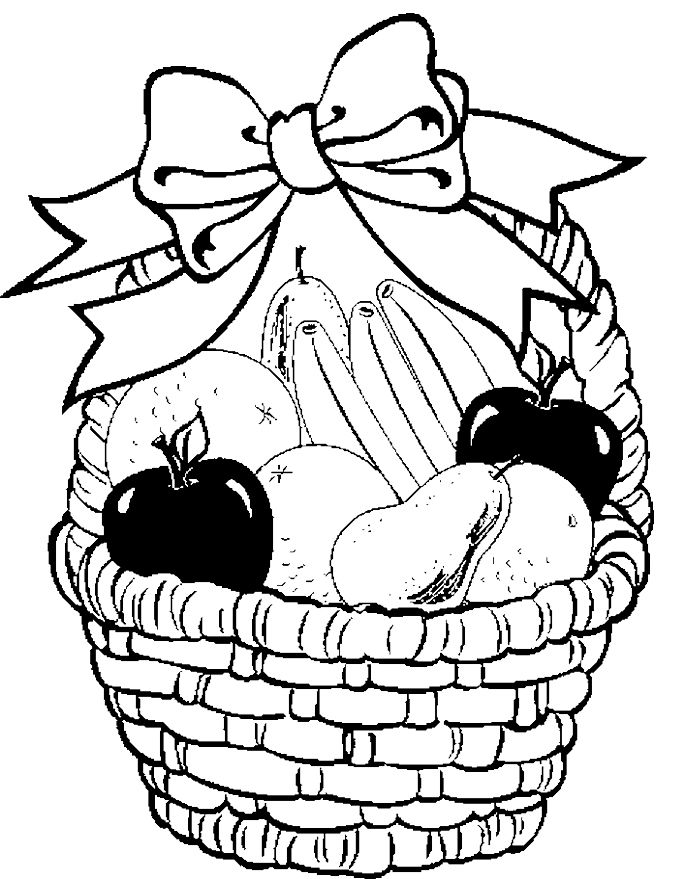 Fruit Basket In Your Decorate With Ribbon Coloring Pages