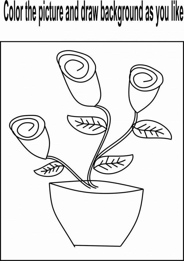 Flower Buds Coloring Page For Kids Beautiful And Tree