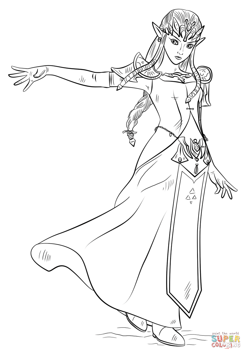 Princess Zelda coloring page | Free Printable Coloring Pages