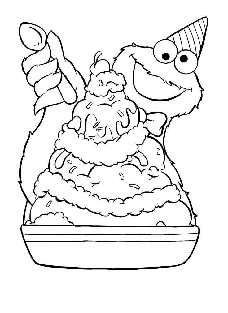 Cookie Monster / Ice Cream Sundae (Coloring Pages) | Coloring ...