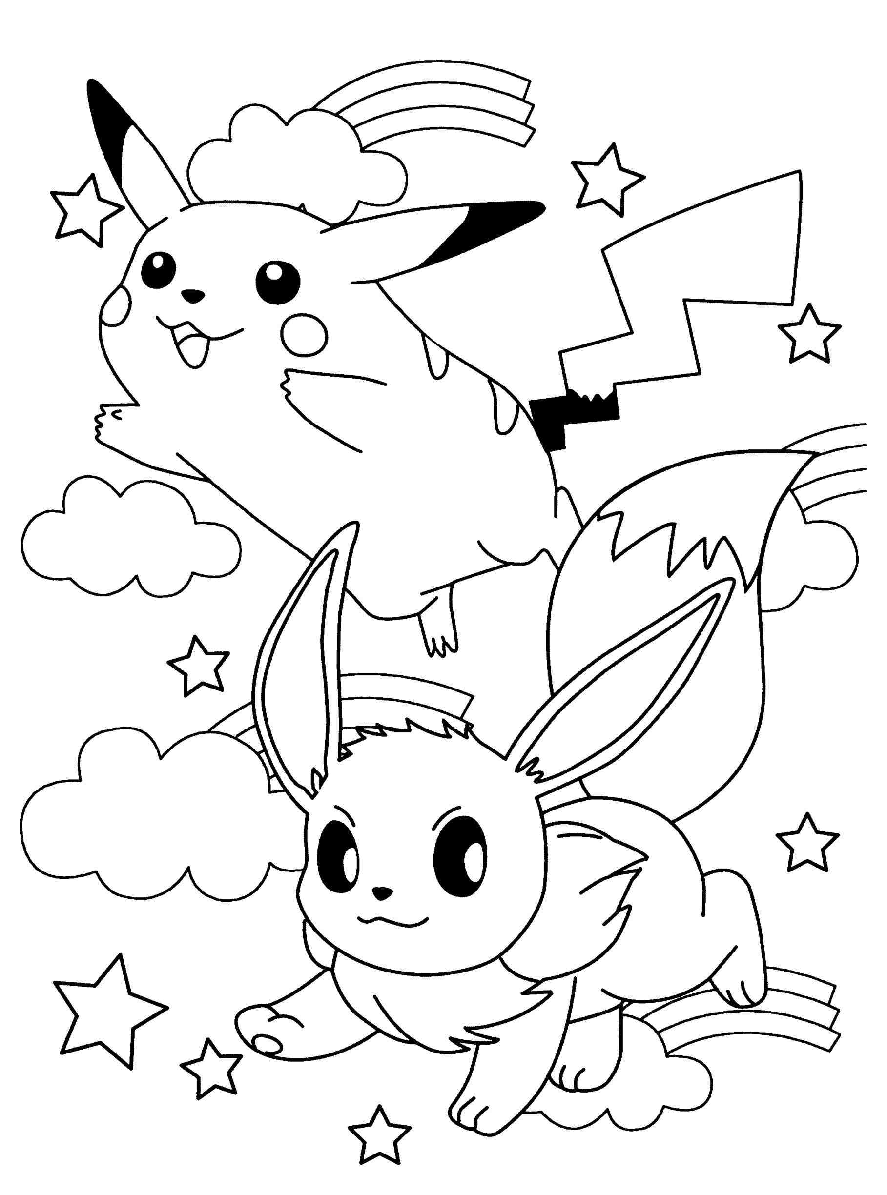 pokemon eevee coloring pages - anime pictures