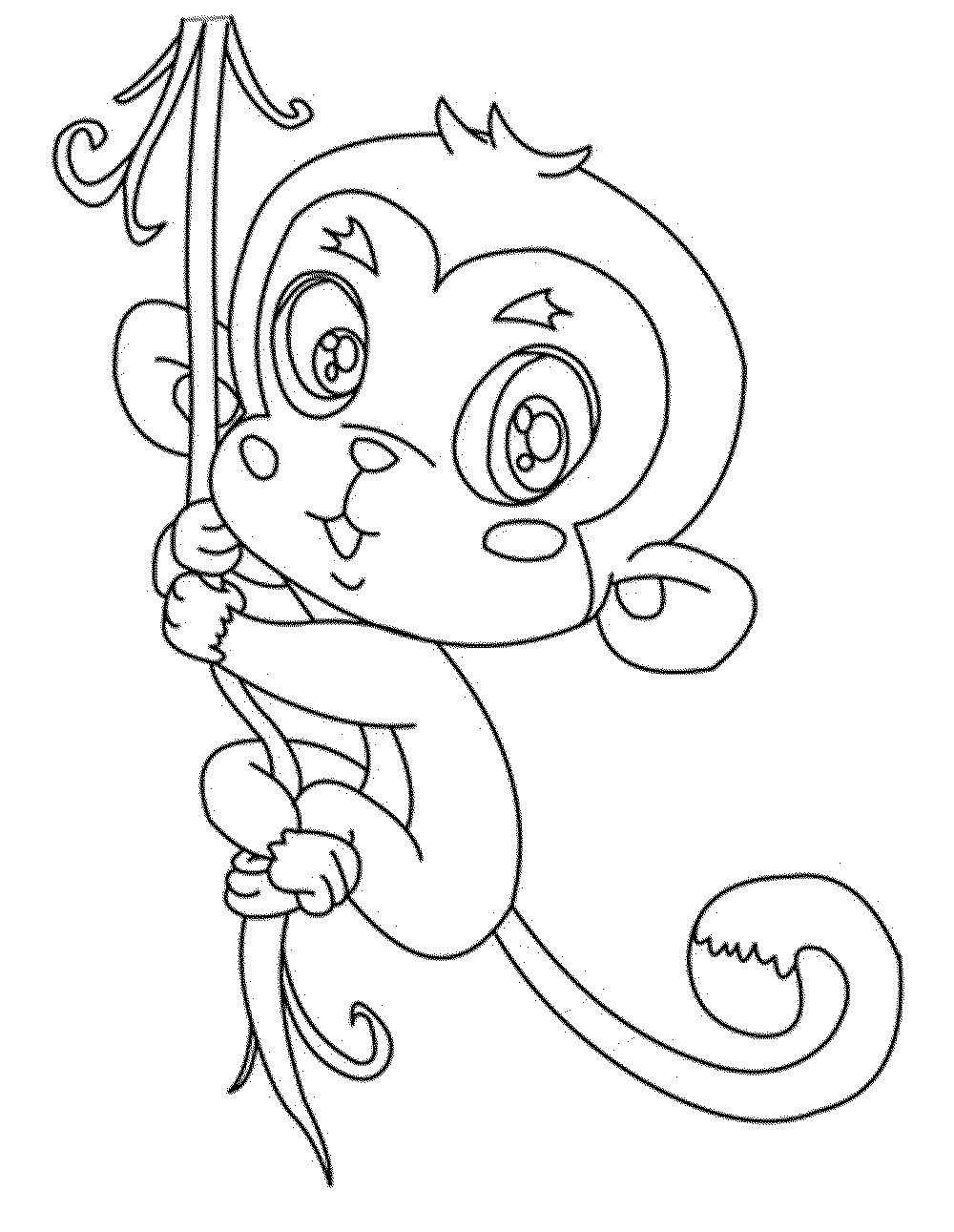 Baby Monkey Colouring Pages Sketch