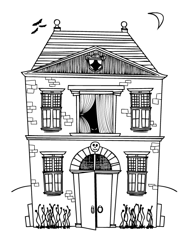 6 Pics Of Haunted House Coloring Pages For Kids Coloring Pages