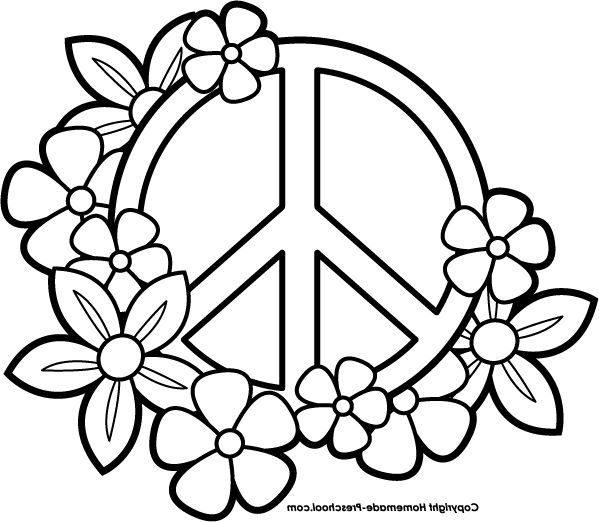 heart peace sign coloring pages - photo#6