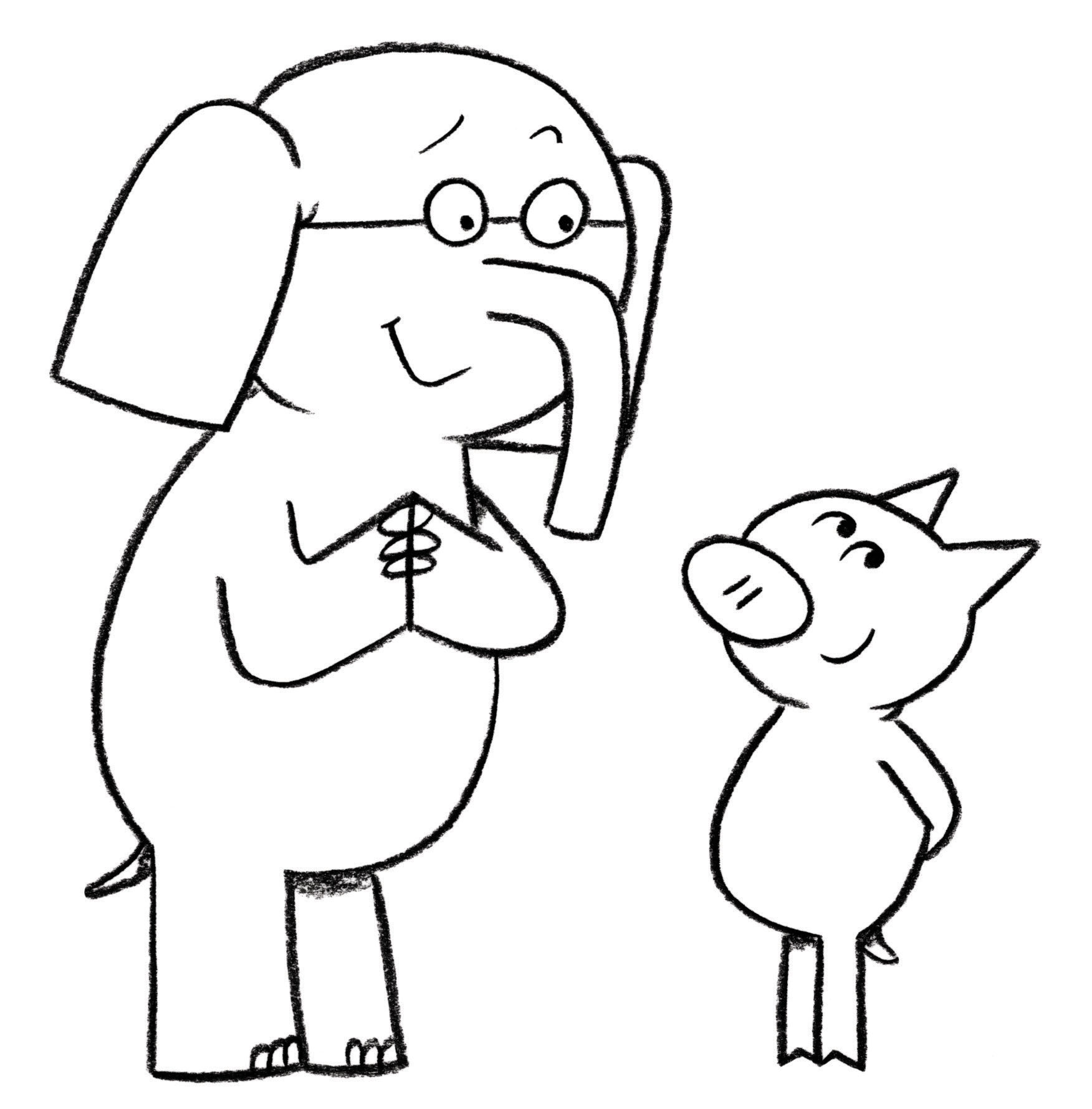 Elephant And Piggie Coloring Page Coloring Home - coloring page of elephant
