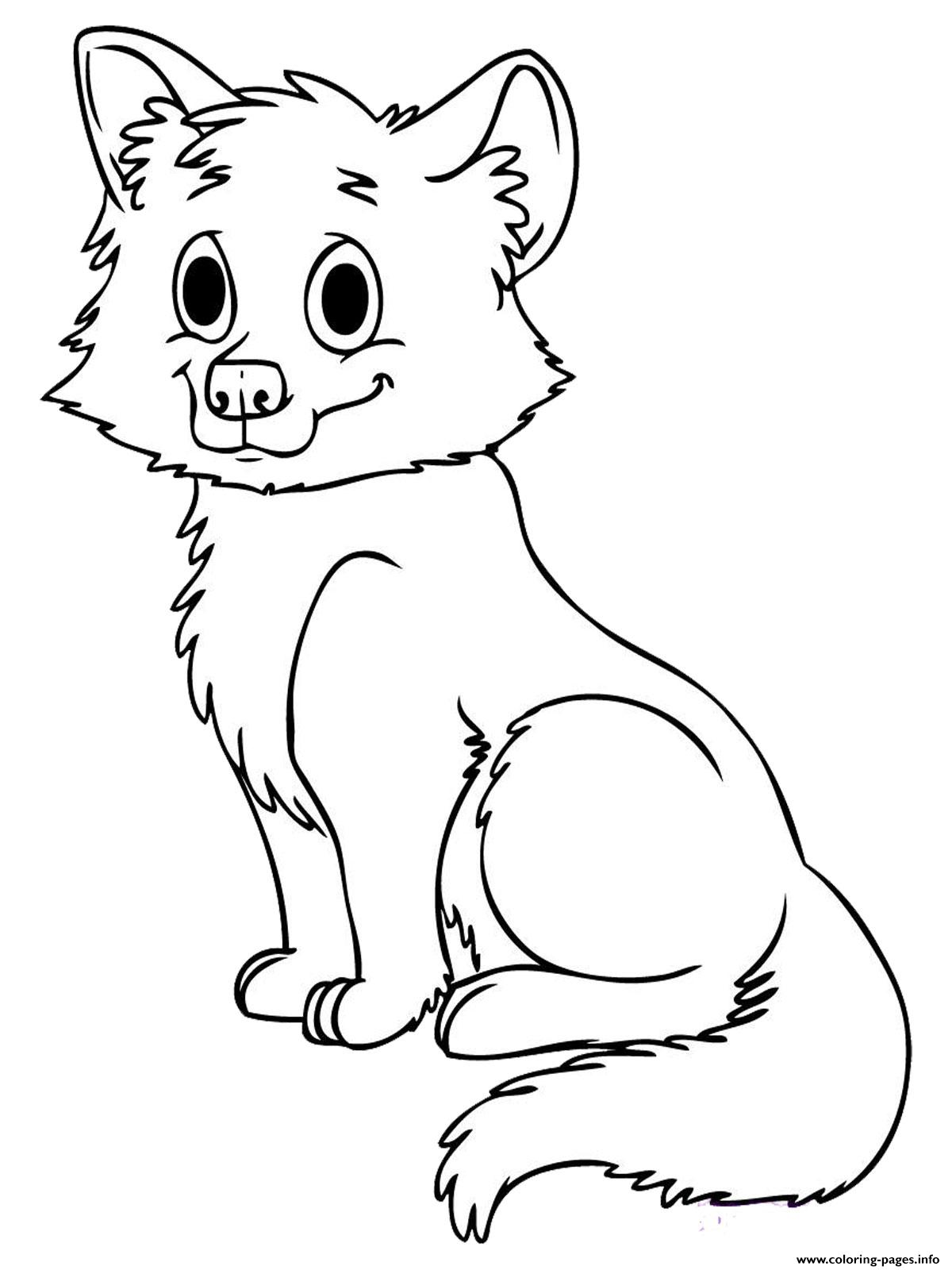 Print Cute Baby Wolf Coloring Pages