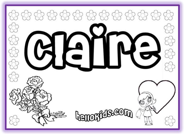 first name coloring pages claire