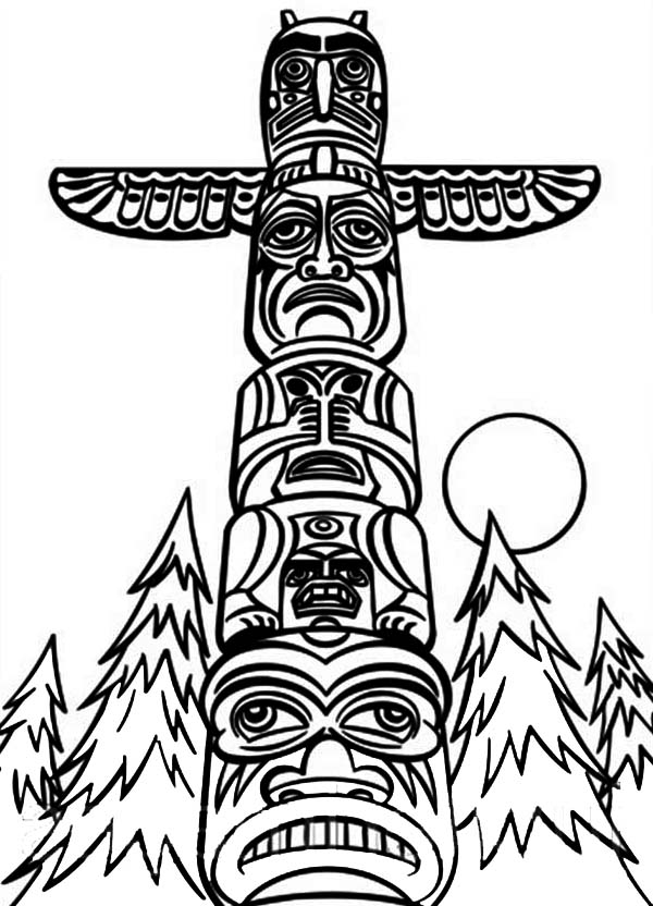 totem pole animal coloring pages - photo#33