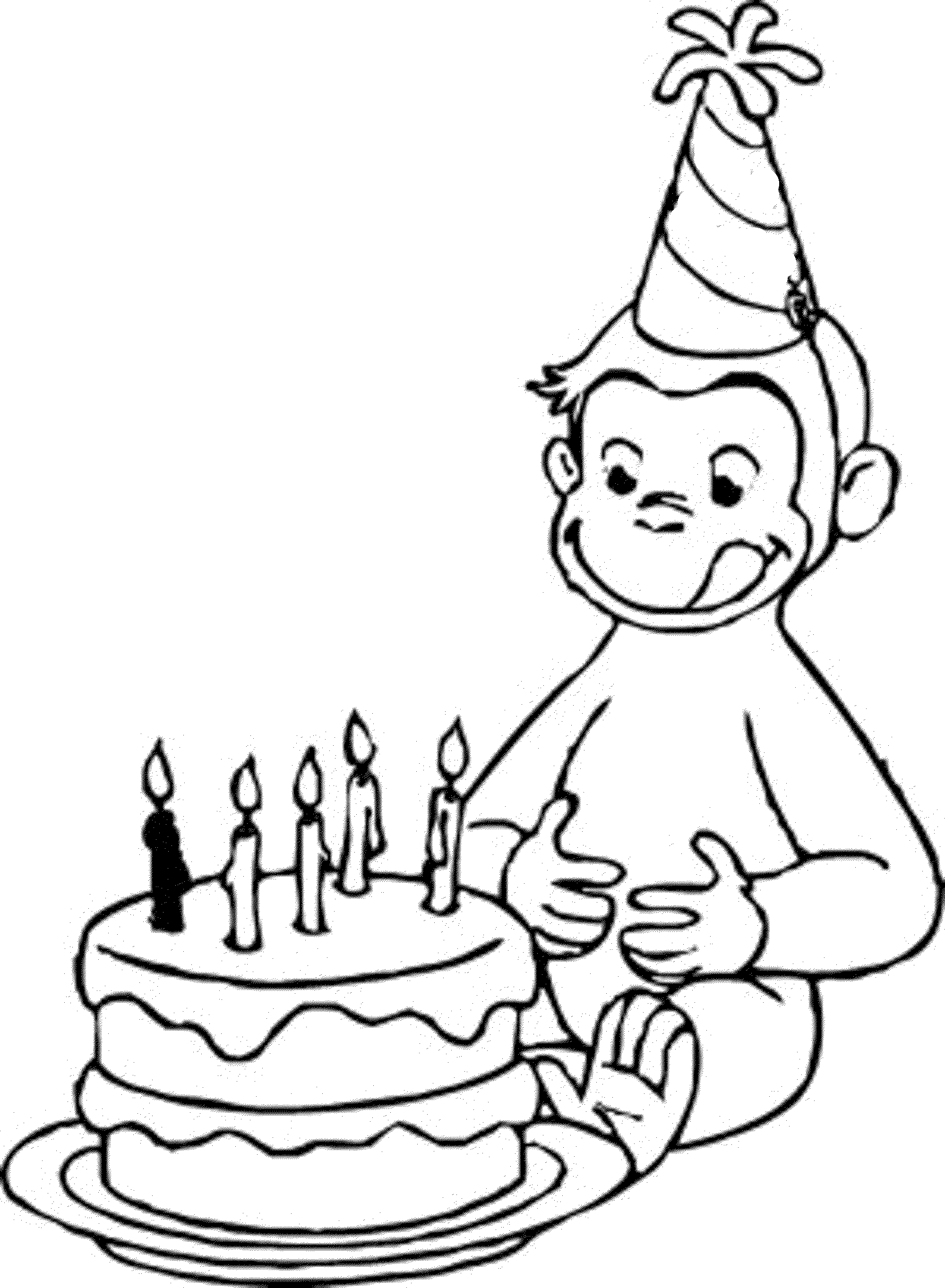 curious george coloring pages birthday-#2