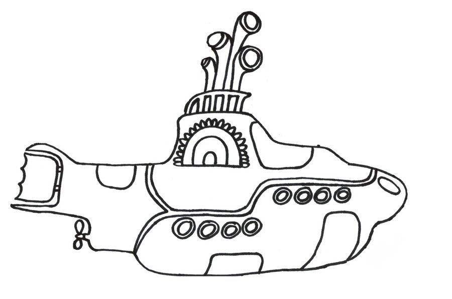 Submarine coloring pages print for Beatles coloring book pages