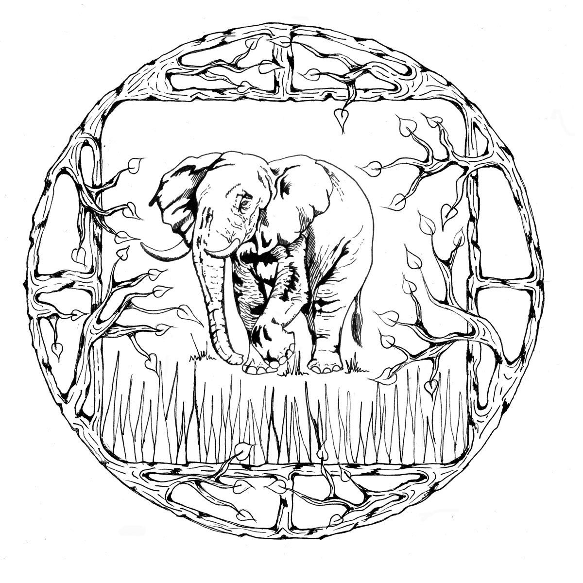 Animal mandalas coloring pages coloring home for Elephant mandala coloring pages