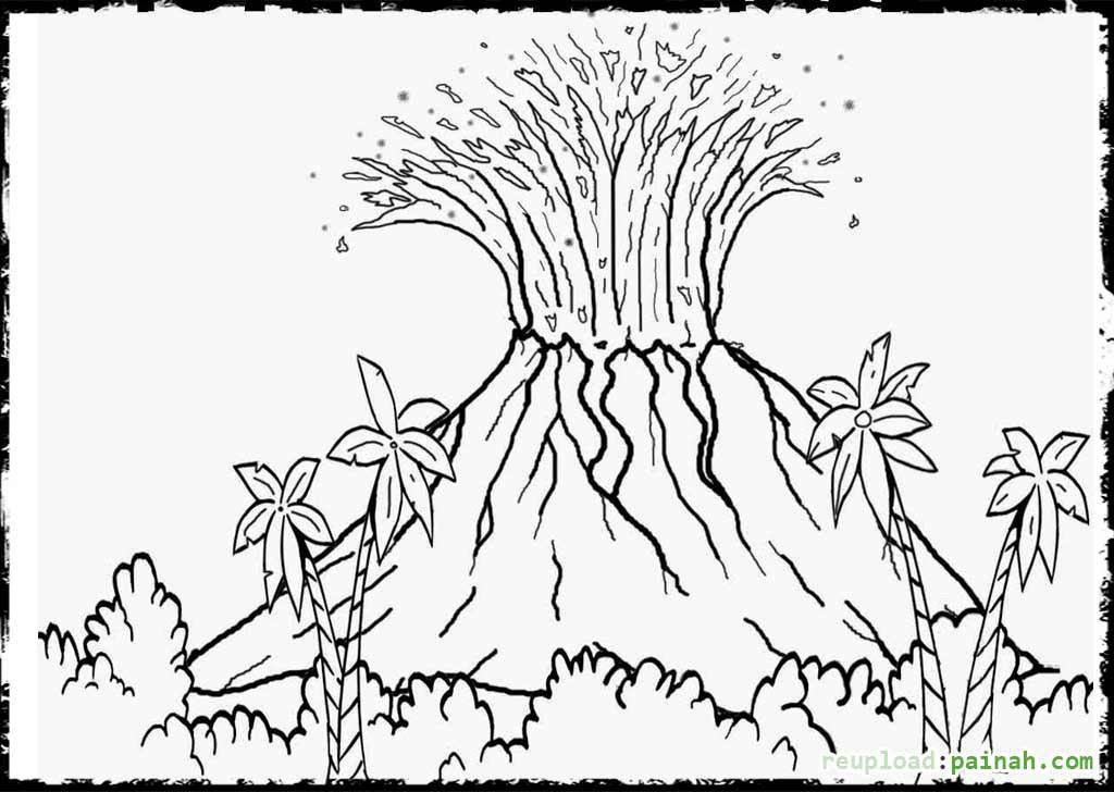coloring page of a volcano - volcano coloring pages for kids coloring home