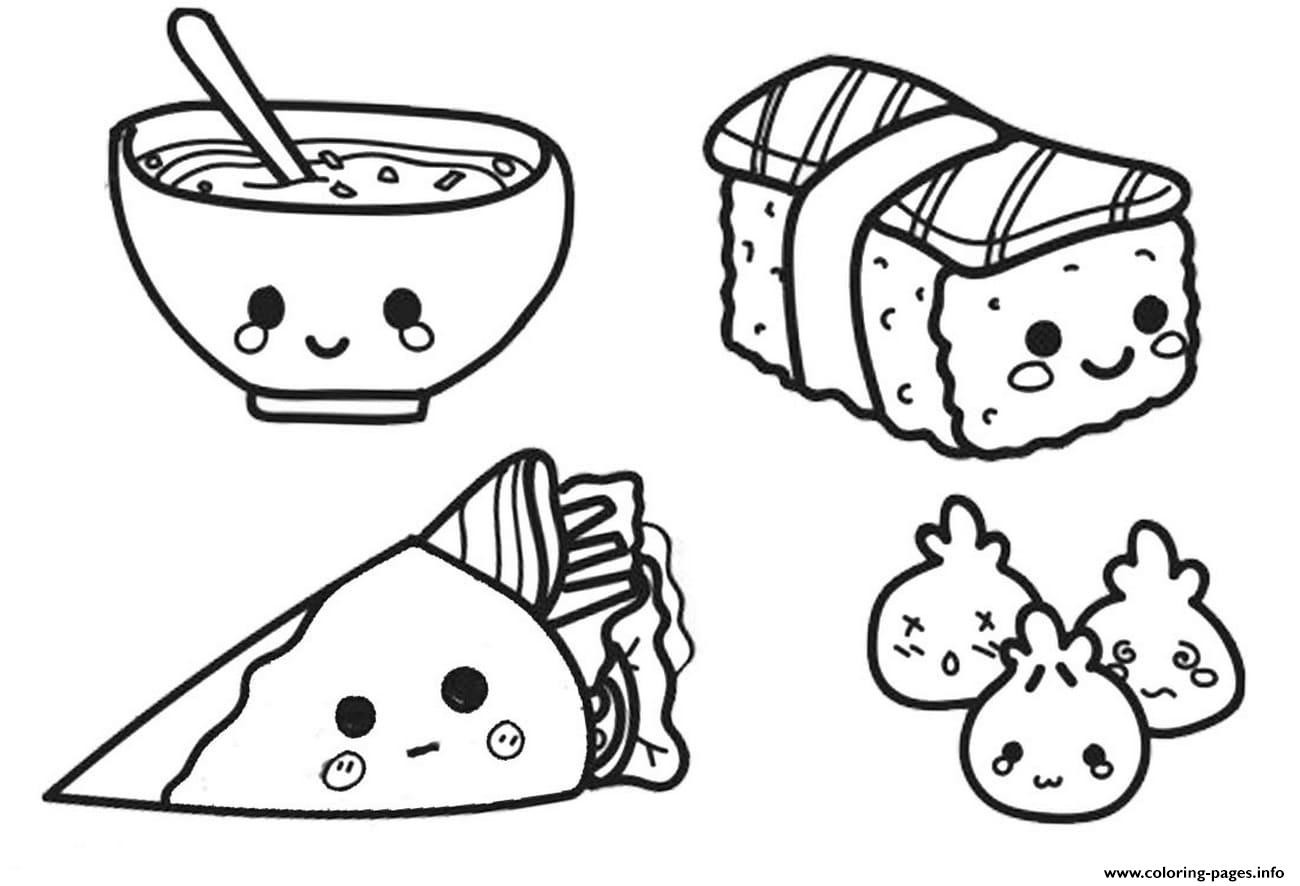 Kawaii Chinese Food Coloring Pages Printable Coloring Home
