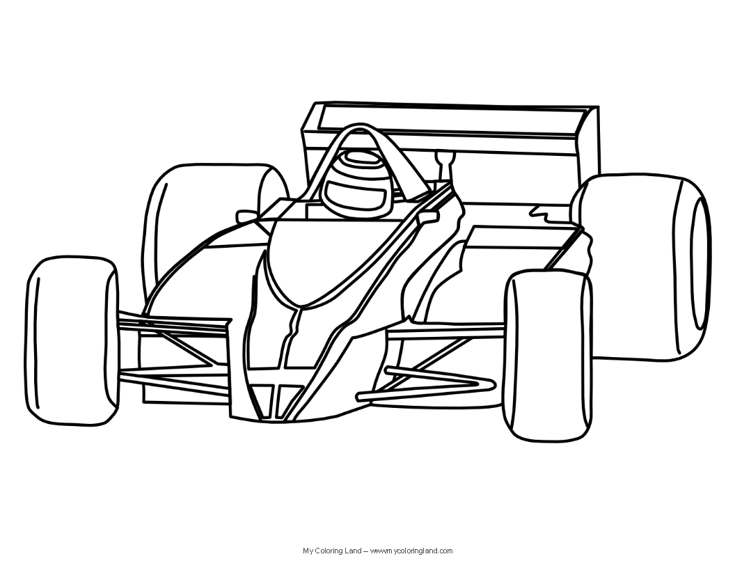 F1 Racing Car Colouring Pages