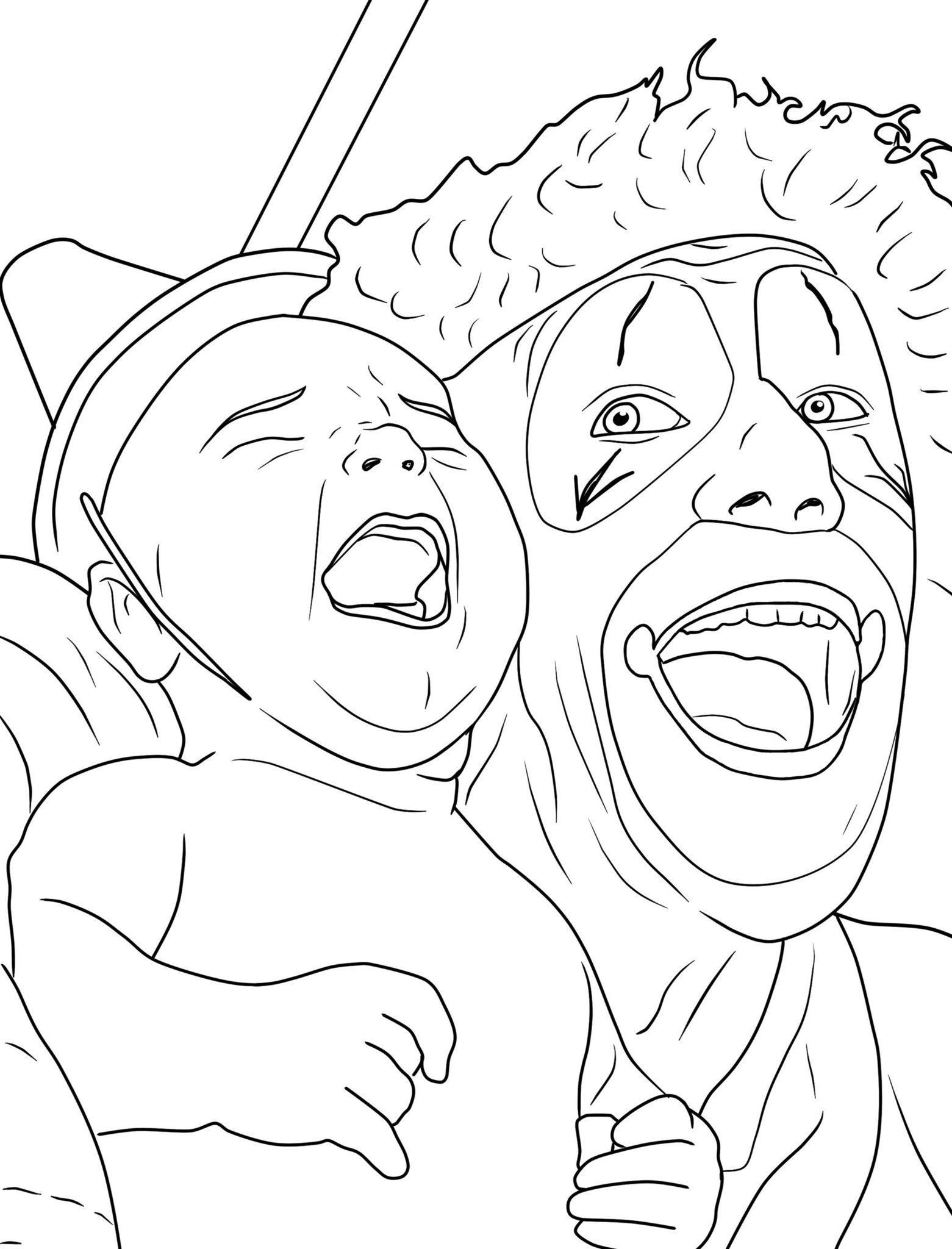 Creepy Clown Coloring Pages Coloring