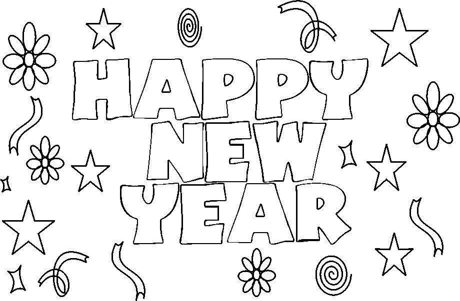Happy New Year Coloring Printable Page Coloring Home