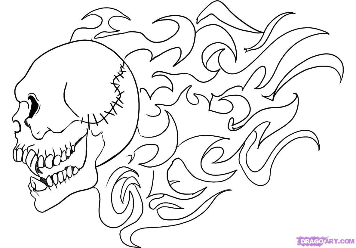 Skull Graffiti Coloring Pages Coloring Home