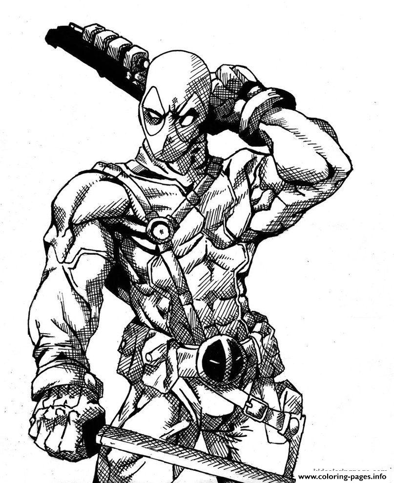 Print deadpool details hd Coloring pages