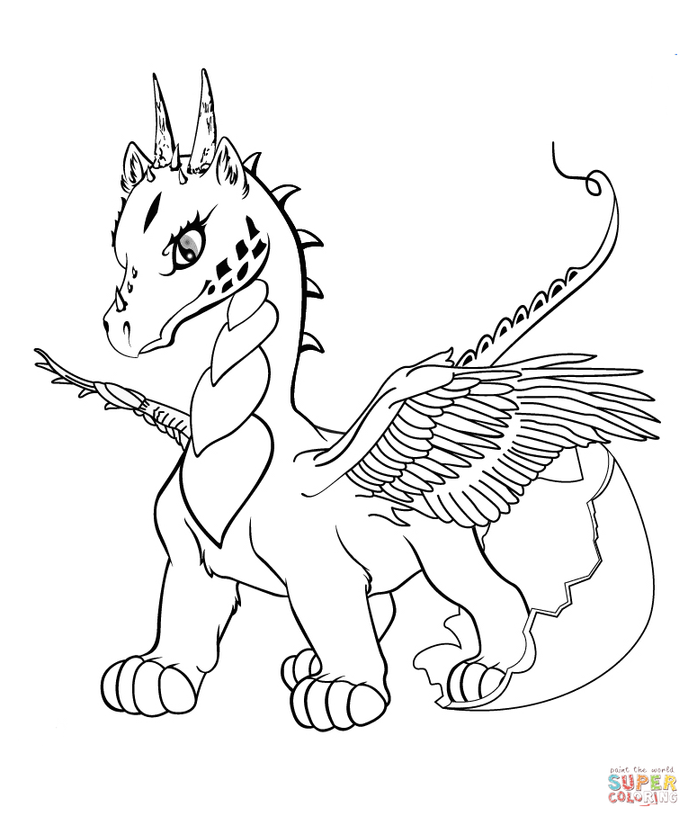 Baby Dragon coloring page | Free Printable Coloring Pages