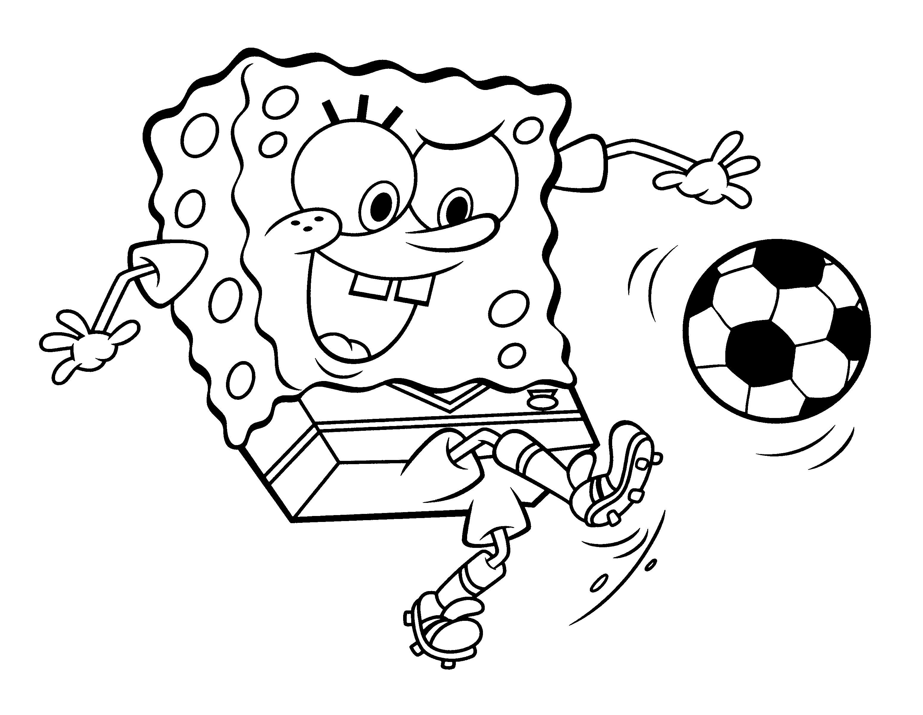 spongebob playing football coloring pages for kids sp printable