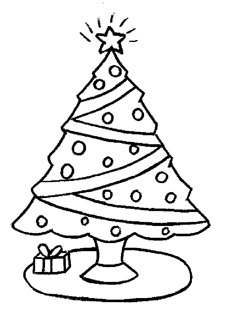 Printable coloring picture of a christmas tree