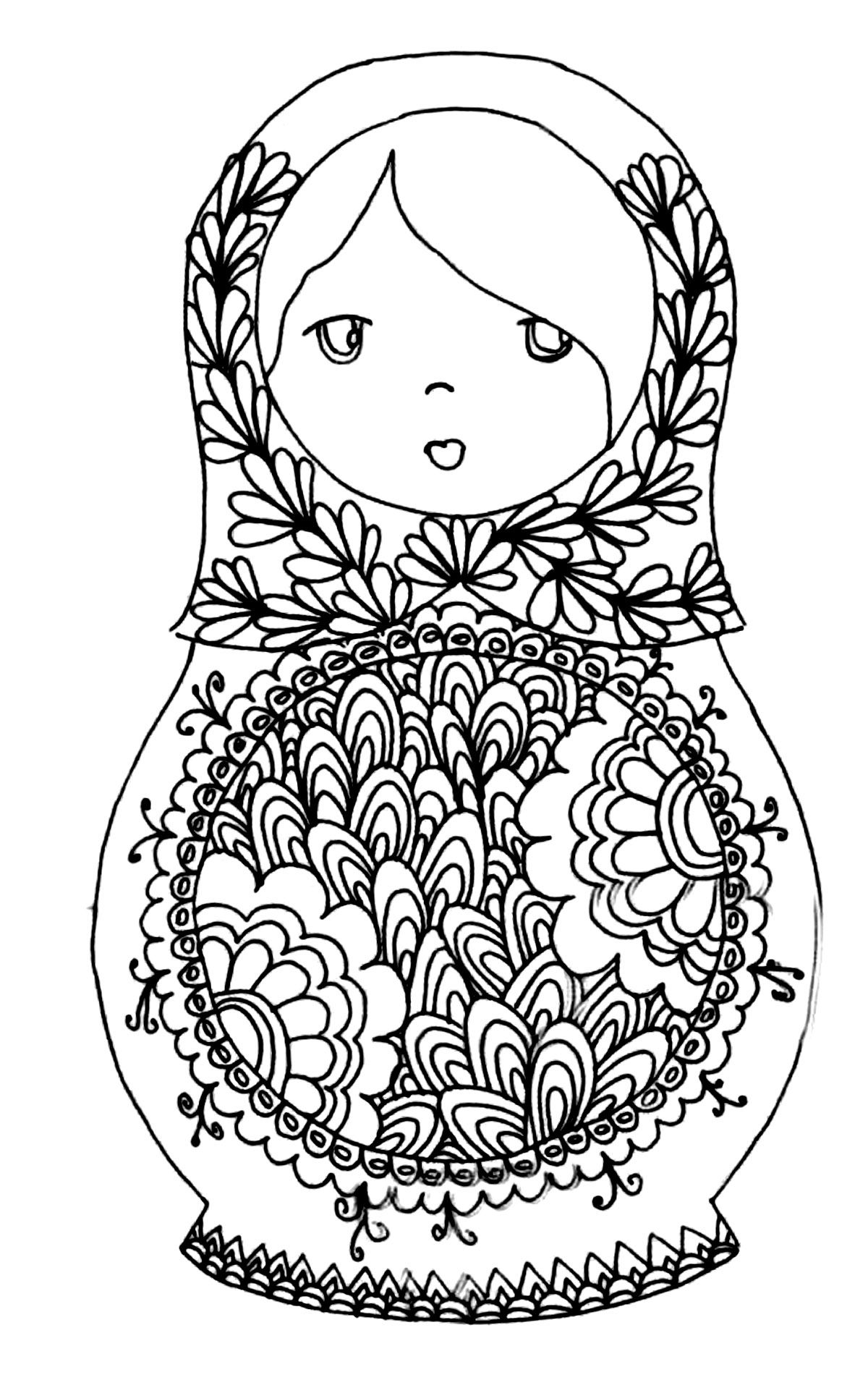 Russian dolls - Coloring Pages for adults
