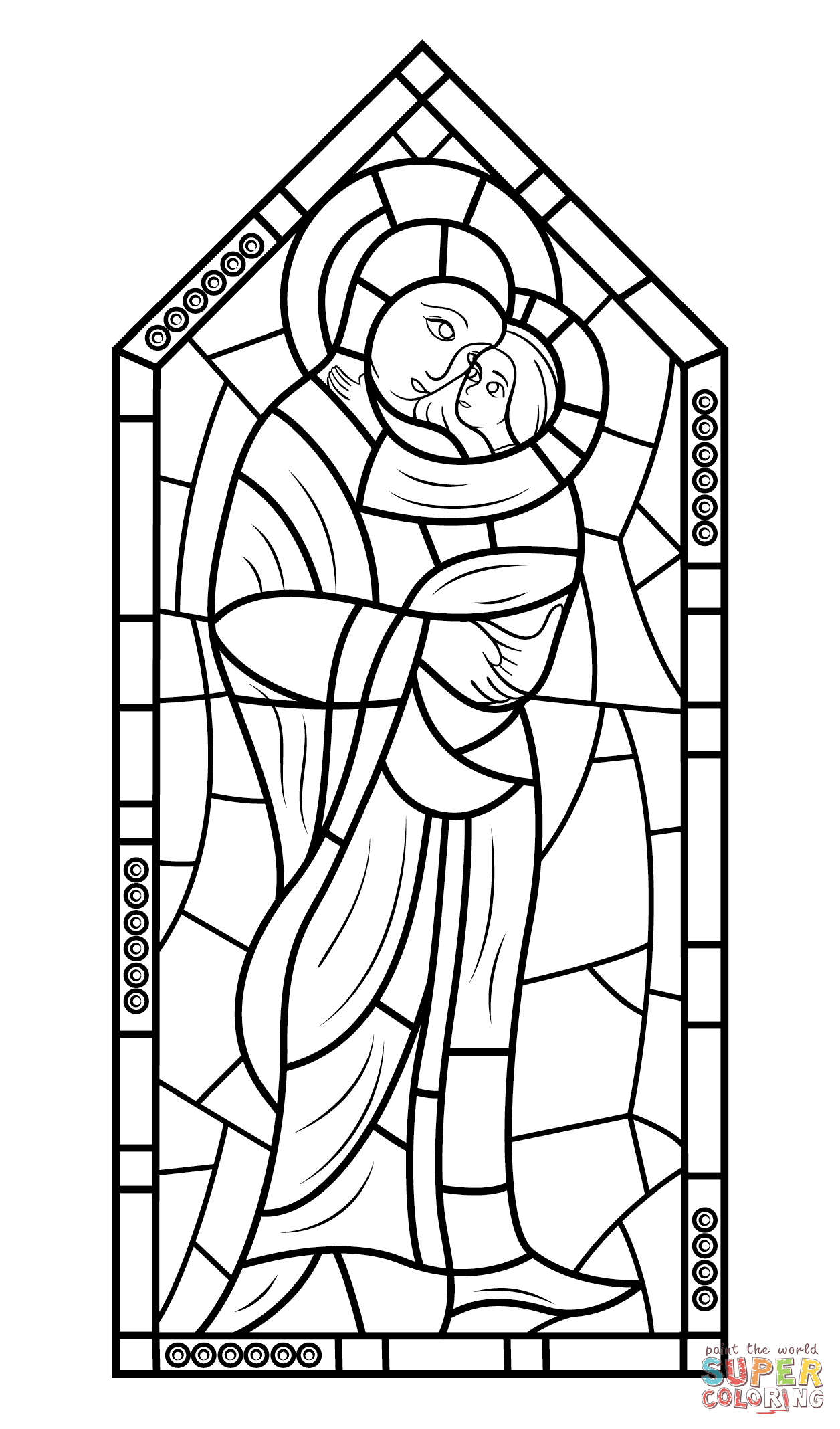 Mother Mary With Jesus Stained Glass Coloring Page | Free ...