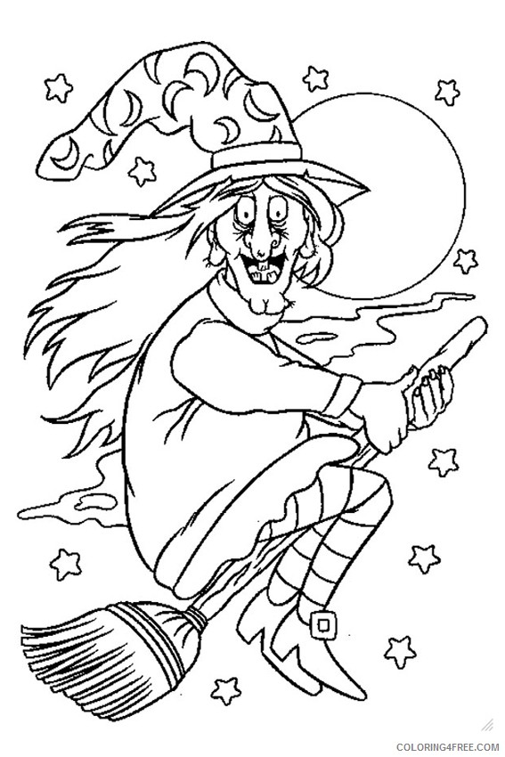 witch coloring pages in the night sky Coloring4free - Coloring4Free.com