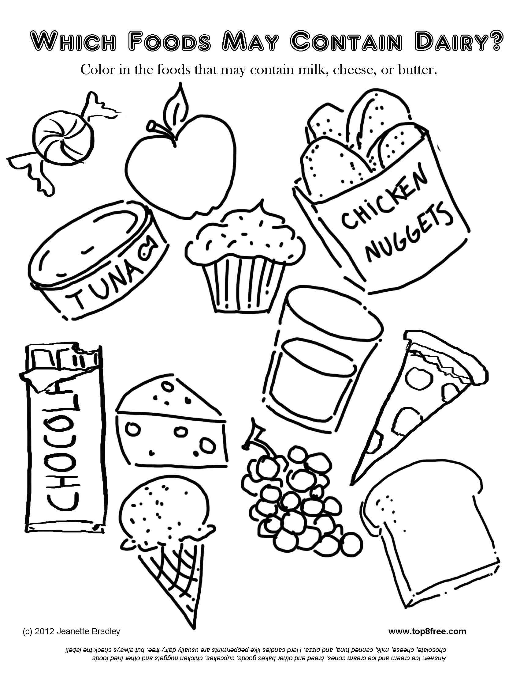 Dairy Allergy Coloring Page   Food Coloring Pages, Free Kids ...