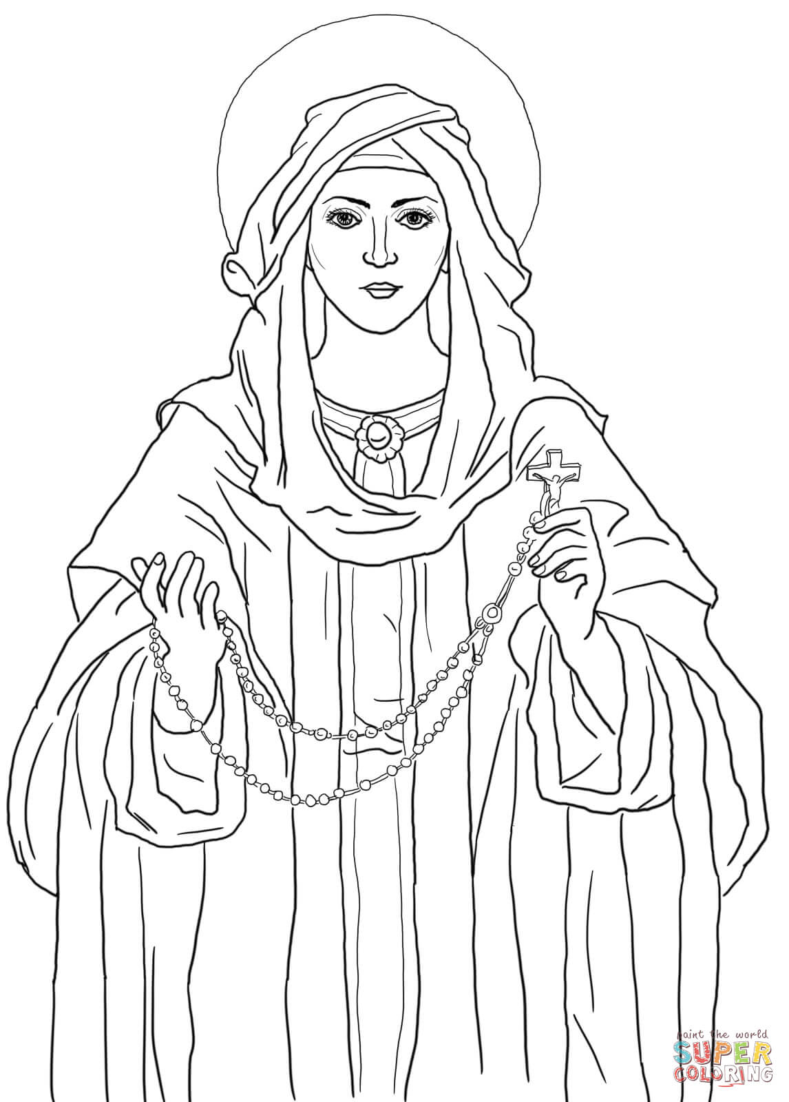 Our Lady of the Rosary coloring page | Free Printable Coloring Pages