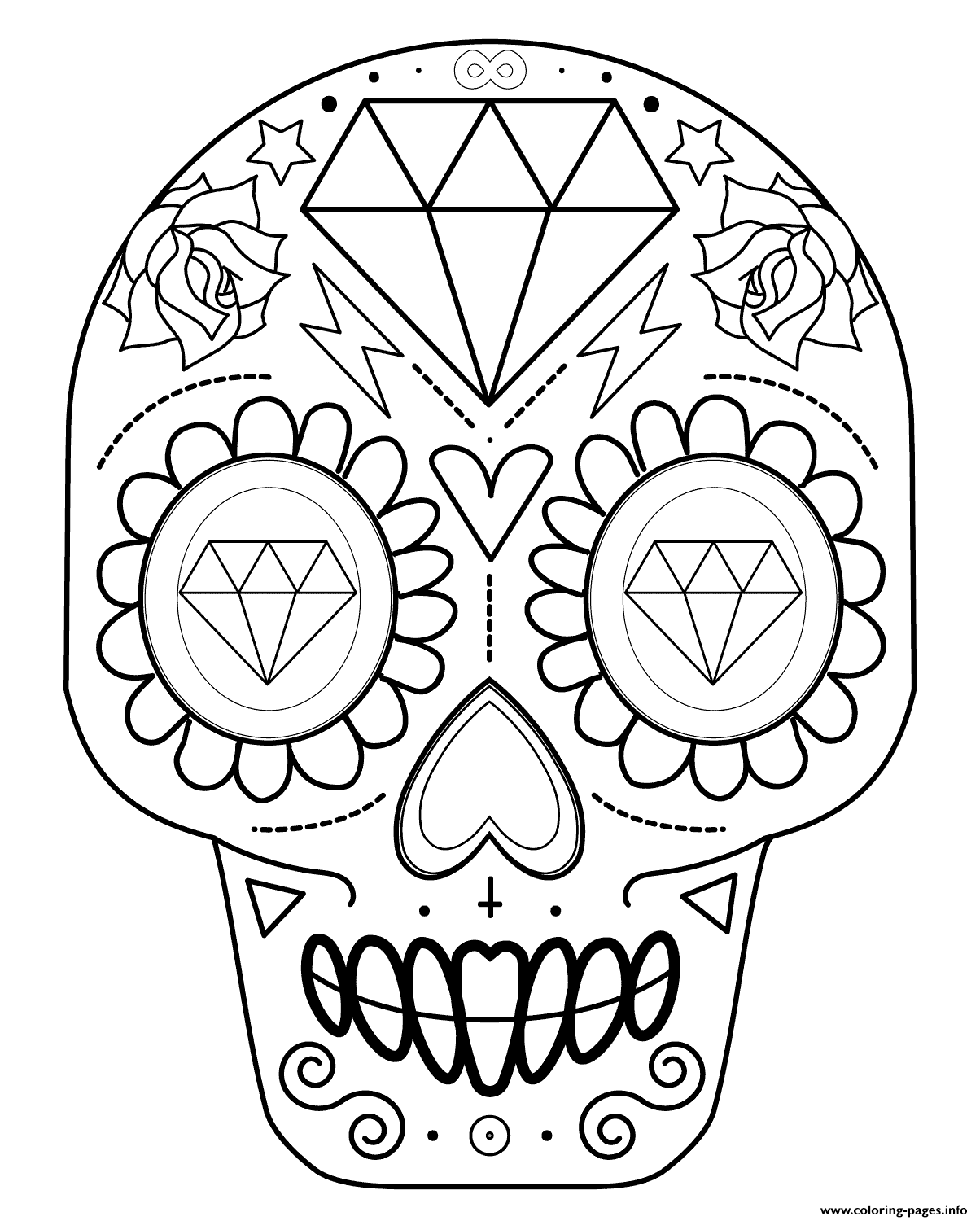 Sugar Skull With Diamonds Calavera Coloring Pages Printable
