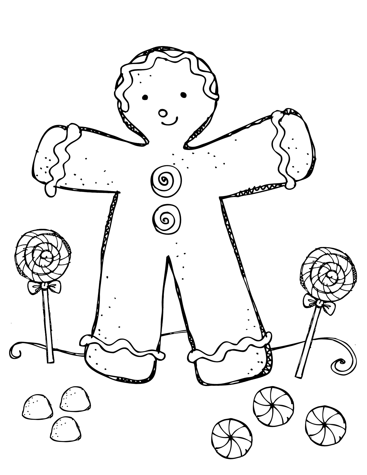 Gingerbread Boy And Girl Coloring Pages