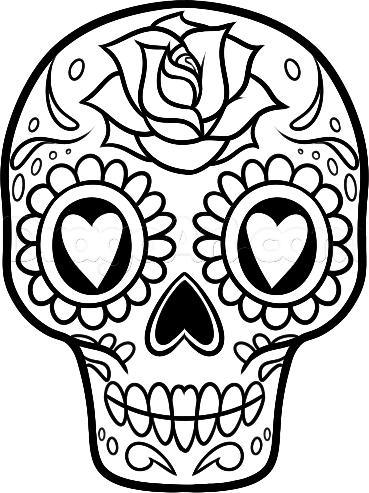 11 pics of easy skull coloring pages easy to draw sugar skull - Sugar Skull Coloring Page